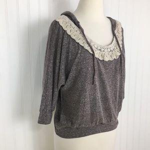 2 for $10 Delia's 3/4 sleeve crochet hoodie top XS